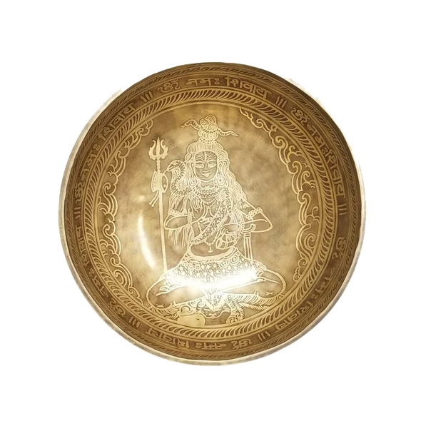 Handmade Tibetan Singing Bowl with Lord Shiva