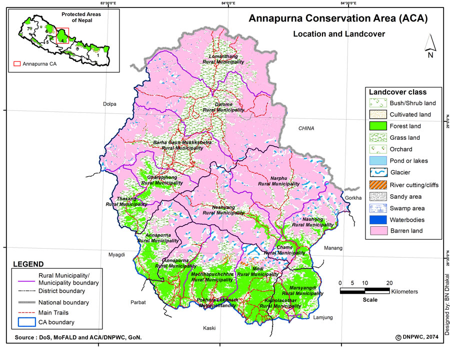 A map of the Annapurna Conservation Area