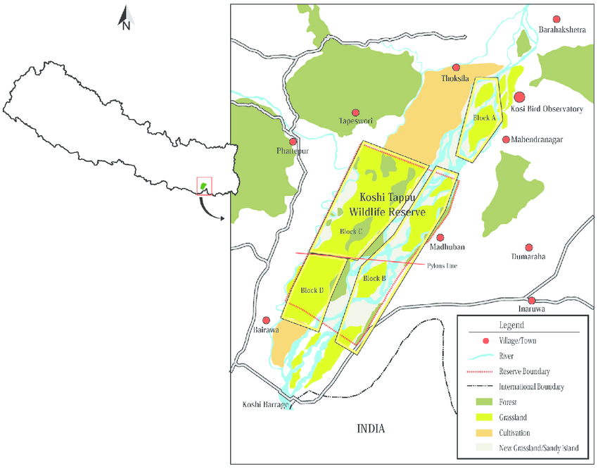 Map of Koshi Tappu Wildlife Reserve