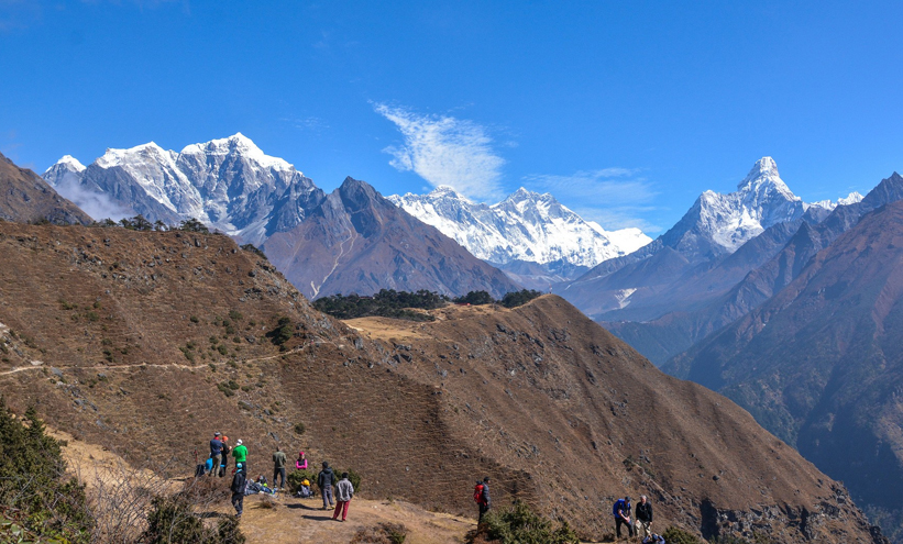 Best View of Mount Everest from Tengboche Village (12,687ft/ 3,867m)